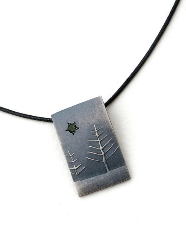 Stormy Tree Pendant- Short Rectangle by Nina Ellis