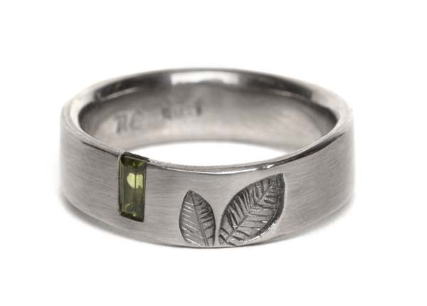 Leaf Ring- Baguette Gem Set by Nina Ellis